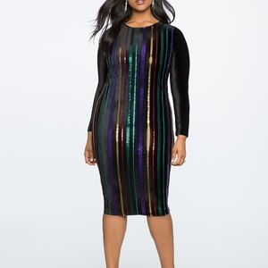 Eloquii Sequin Bodycon Dress With Velvet